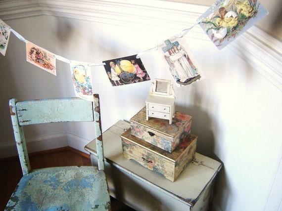 Vintage Cottage Post Card Garland