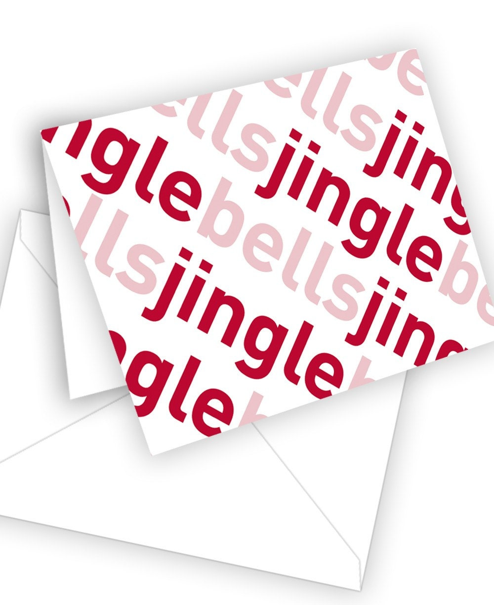 Typographic Holiday Card  Jingle Bells by theRasilisk on Etsy from etsy.com