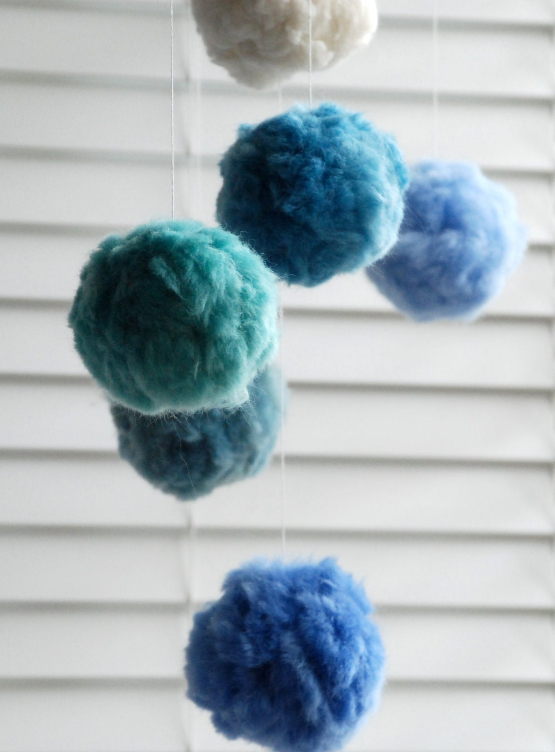 Baby Mobile for Nursery, Pom Pom Mobile - Handmade & Natural Materials in Ocean Colours - MerinoAngel