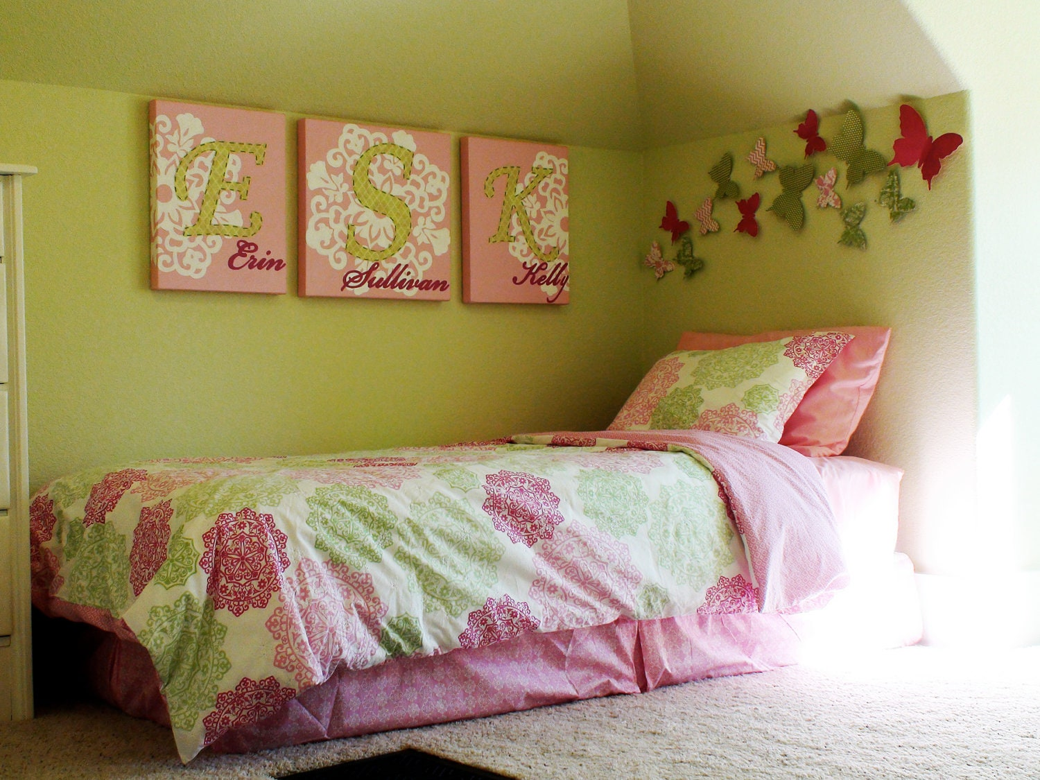 Canvas Children's Wall Art - 46 x 18 Total Size - Personalized Original Painting With Hand-Stitched Fabric