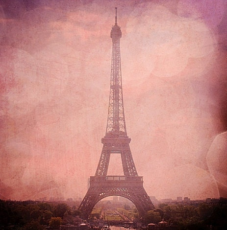 "Eiffel Tower in Pink Champagne - Pink Eiffel Tower, Bokeh Paris, France Fine Art Photography 8x10"" Matte Print"