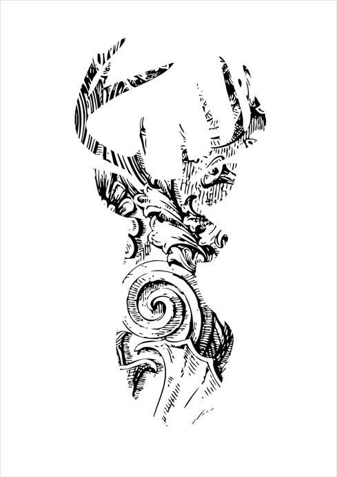 Instant download, deer head print, printable digital graphic, antlers, illustration, animal, woodland, wall art decor by Vinspiro - Vinspiro