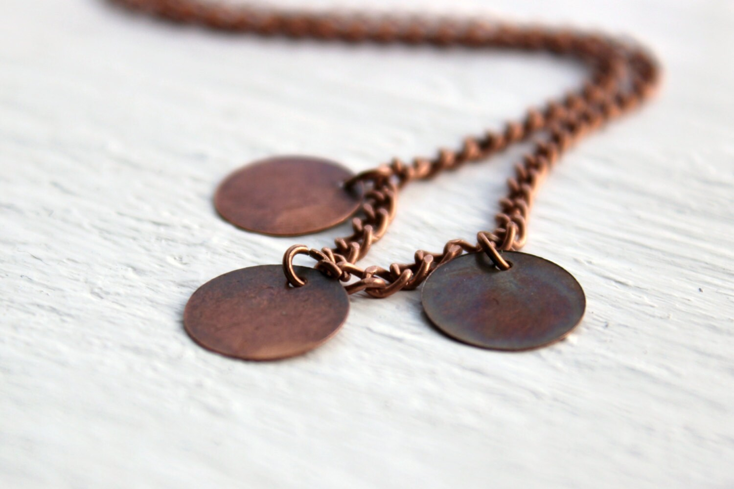Simple Antique Copper Circle Metal Disc Necklace - Handmade Fall Jewelry - Ready to Ship - belleonabudget