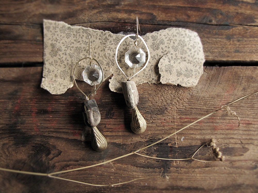 Mankind - modern primitive earrings - chandelier crystals - driftwood - 18k gold