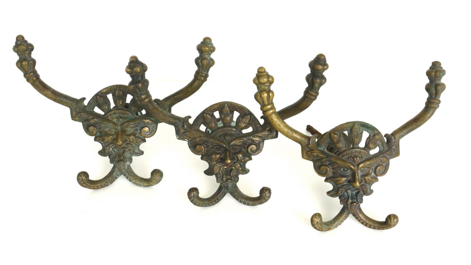 Antique ornate hall tree hooks neptune figural double by mygsbird - Adding character to your hallway with a hall tree ...