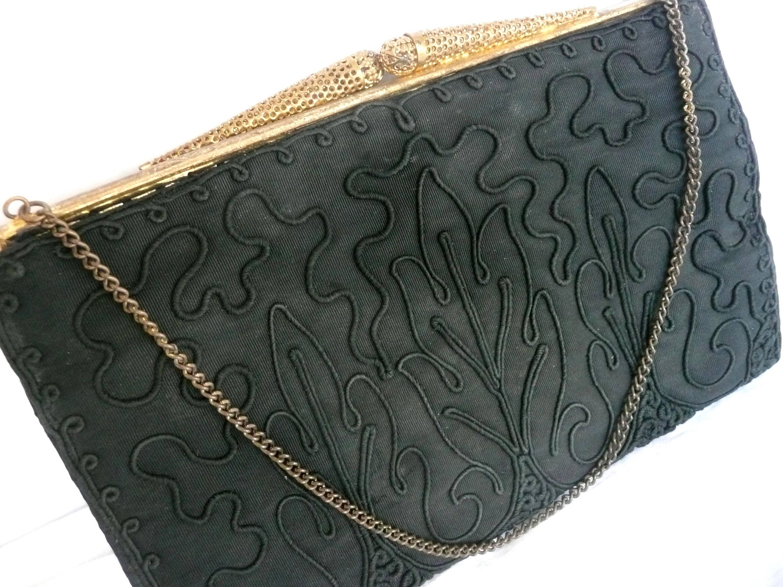Black cord evening purse  vintage cord purse  black evening purse with gold clasp  vintage cord handbag