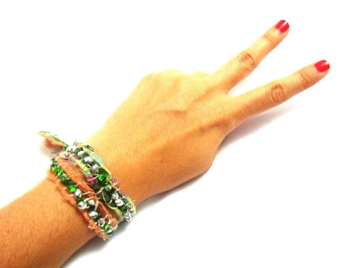 FeralHorse Fabric Wrap Around Bracelet with Swarovski Hippie Style - FeralHorse