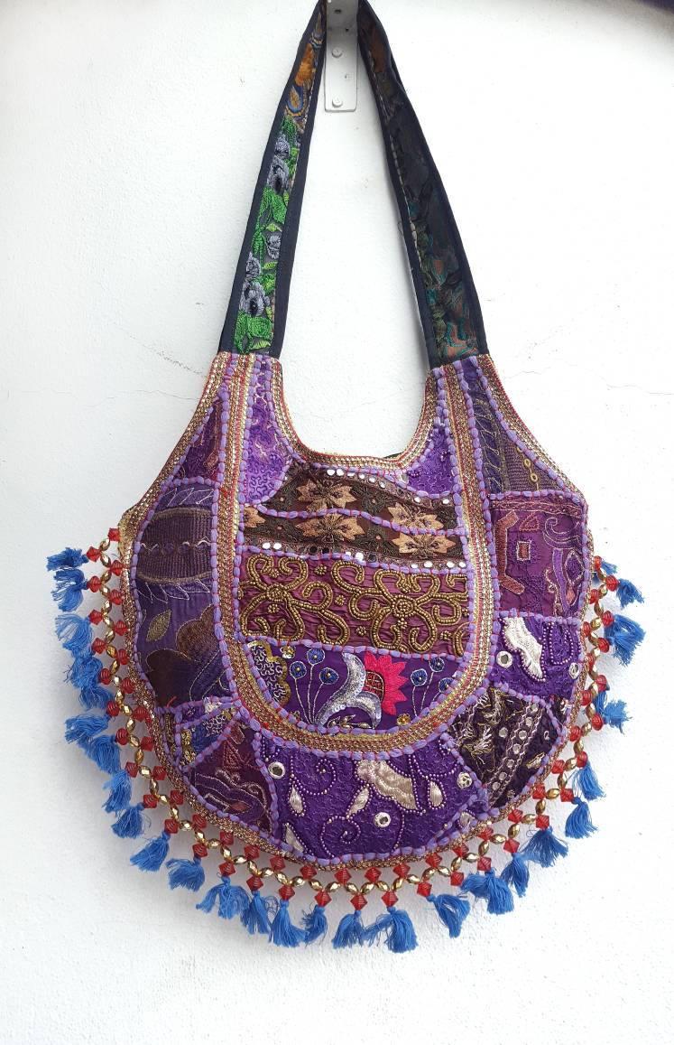 Purple Boho Handbag hippie Festival Bag Handmade Tote Retro Sholder Bag