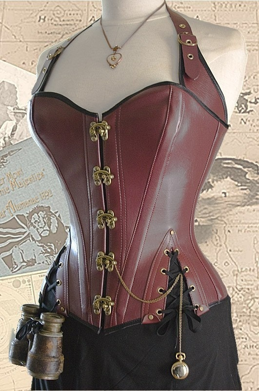 Brass Steampunk Adventurer's Corset oxblood