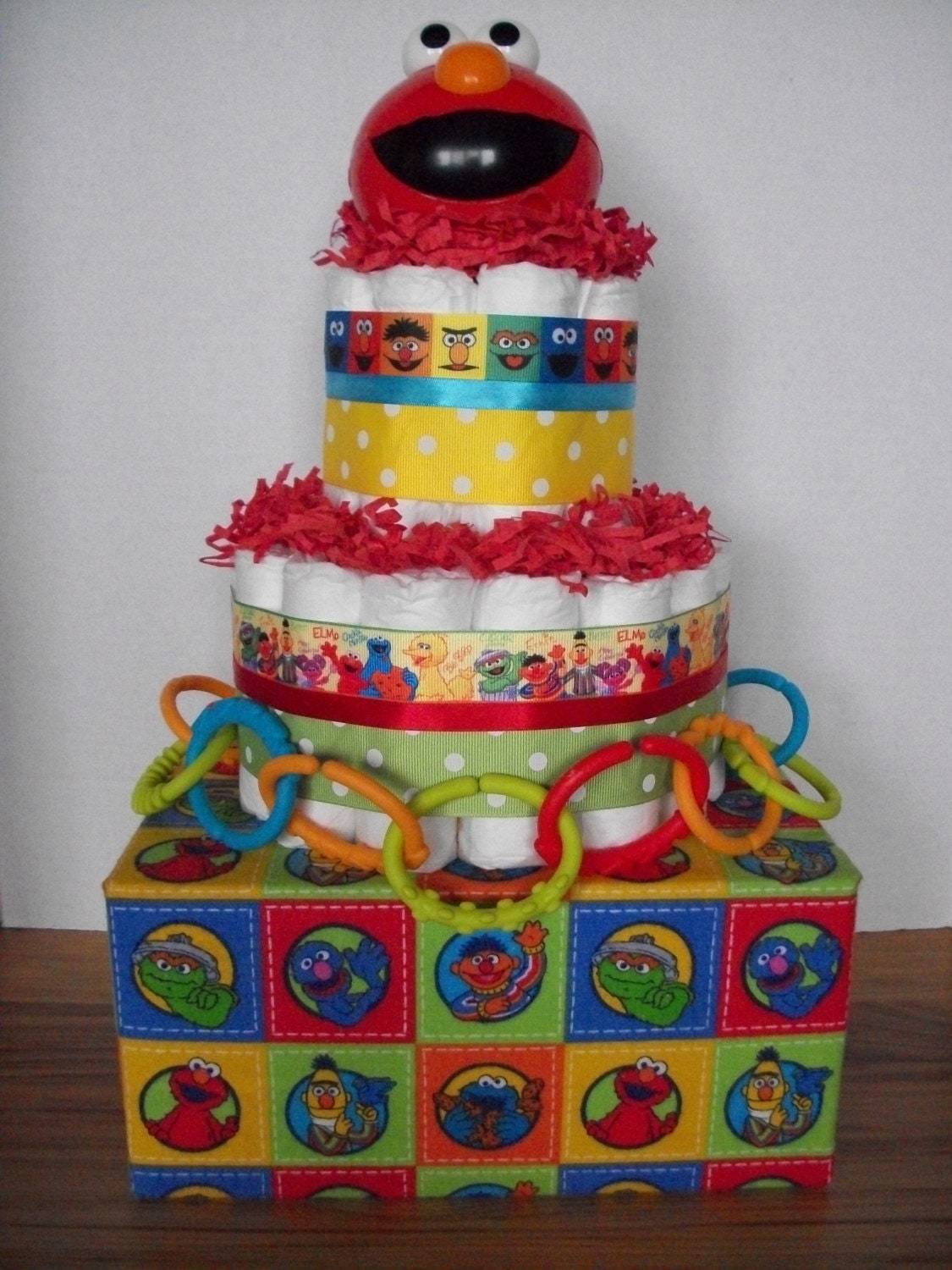 sesame street elmo diaper cake baby shower gift table decoration