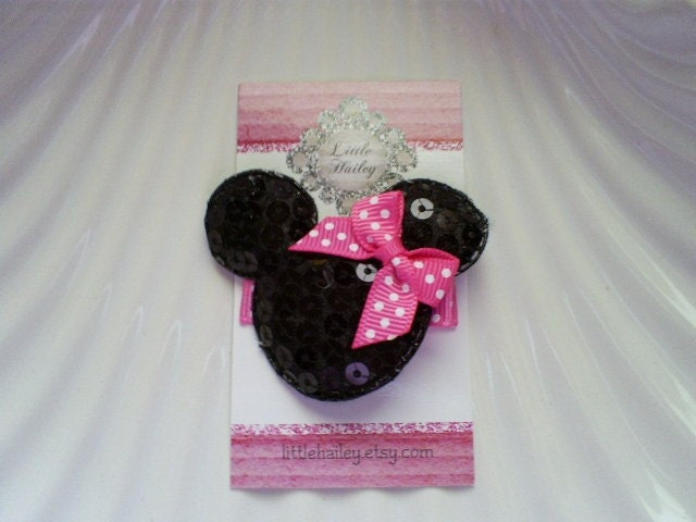 Black Sequin Minnie with Her Big Bright Pink and White Polka Dot Bow Hair Clip