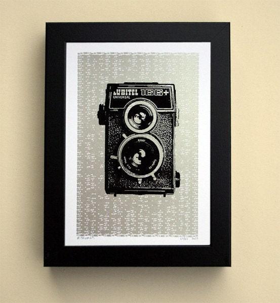 Camera No.2 (Silver) - Hand Printed Art Print - 5X7