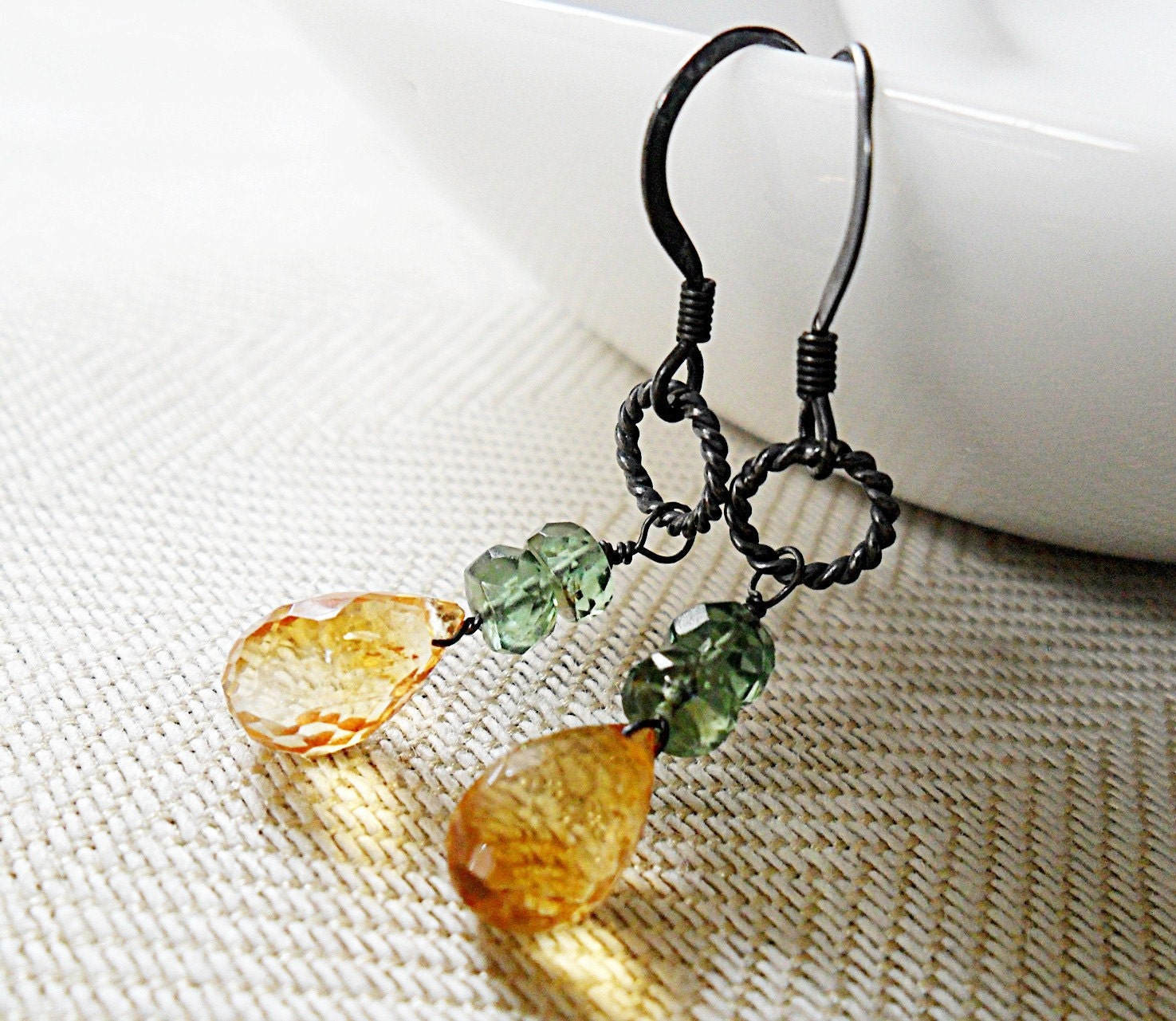 AAAA Citrine Earrings, AAA Green Apatite Oxidized Sterling Silver November Birthday November Birthstone