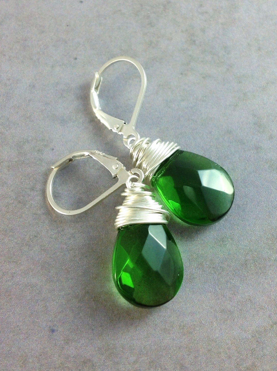 Emerald green earrings. Sterling silver wire wrapped teardrops. Leverback earrings. Wire wrap jewelry. - GemsByKelley