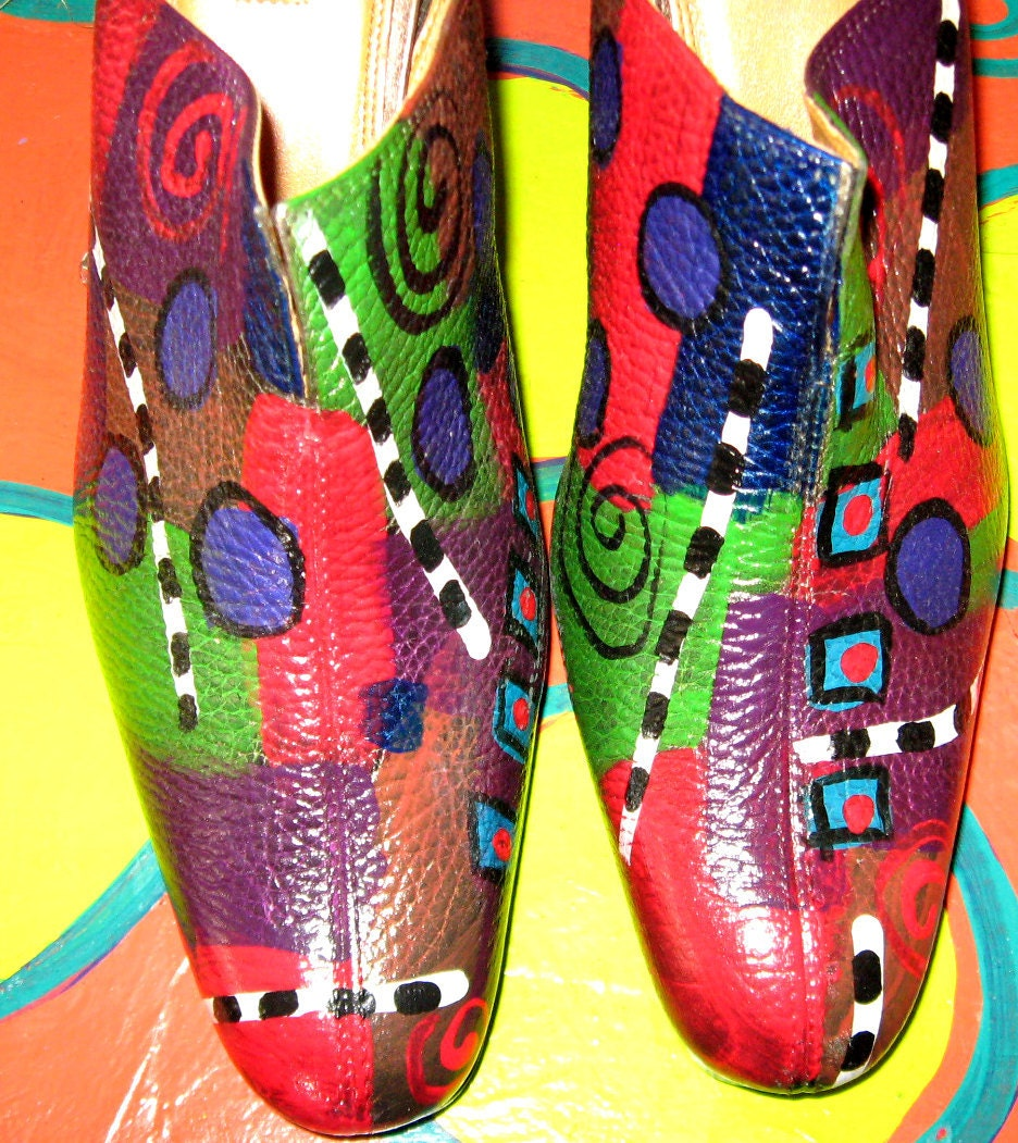 Hand painted leather Mule By Unisa size 10