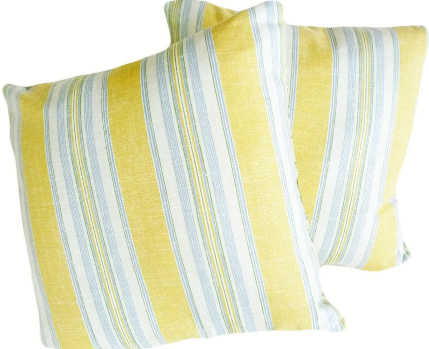Blue Striped Decorative Pillows : Yellow White Blue Pillows Striped Decorative by PillowThrowDecor