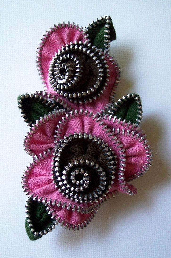 Pink and black flower zip brooch, via Etsy: ZipPinning