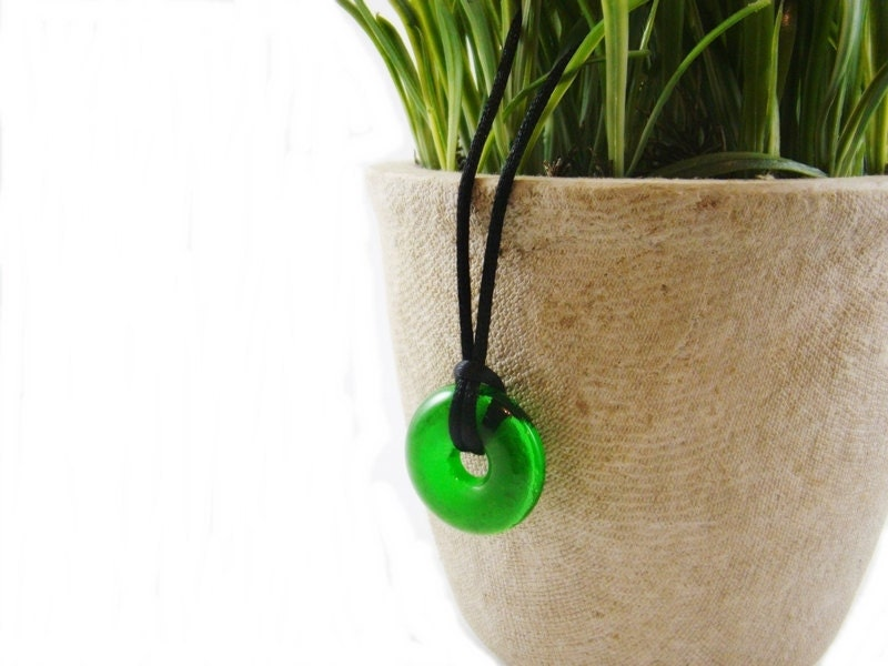 Unisex Recycled Glass Pendant from Beer Bottle Neck - envidrio