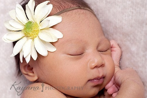 Sweet Saffron Daisy Headband For Newborn Baby, Toddler and Adult Perfect for Photography Props Weddings Flower Girls