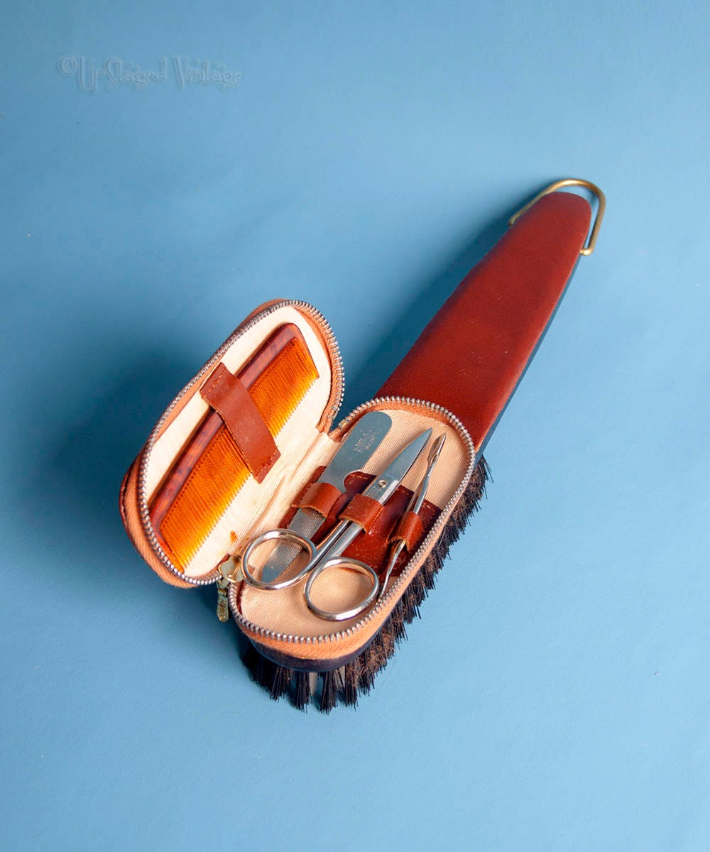 Vintage 1960s70s Embassy Clothes Brush with Zipped Manicure Set