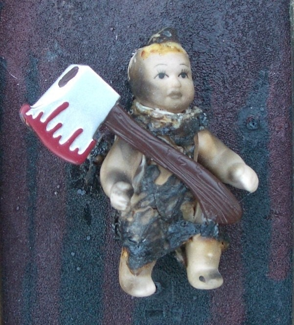 BABY PLAYS WITH AXE - PRINT of Original Mixed Media Altered DOLL ART Painting by LAS VEGAS Artist NAY