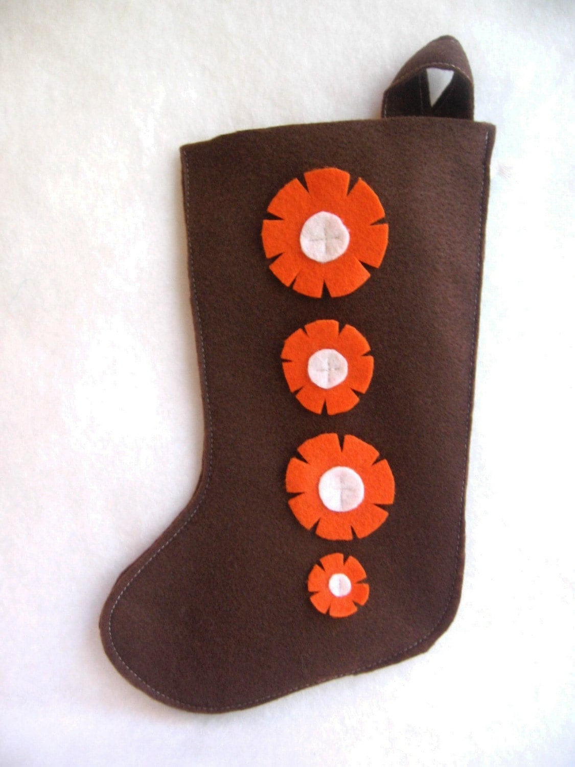 eco deal... rikrak Christmas...brown and orange felt stocking
