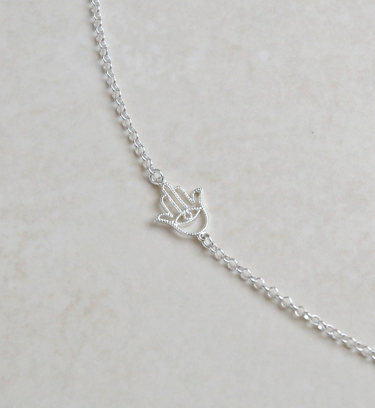 Silver hamsa necklace - sterling silver hamsa hand connector - hamsa charm - hand of fatima - mini hamsa - trendy protection jewelry - Asima - littleglamour