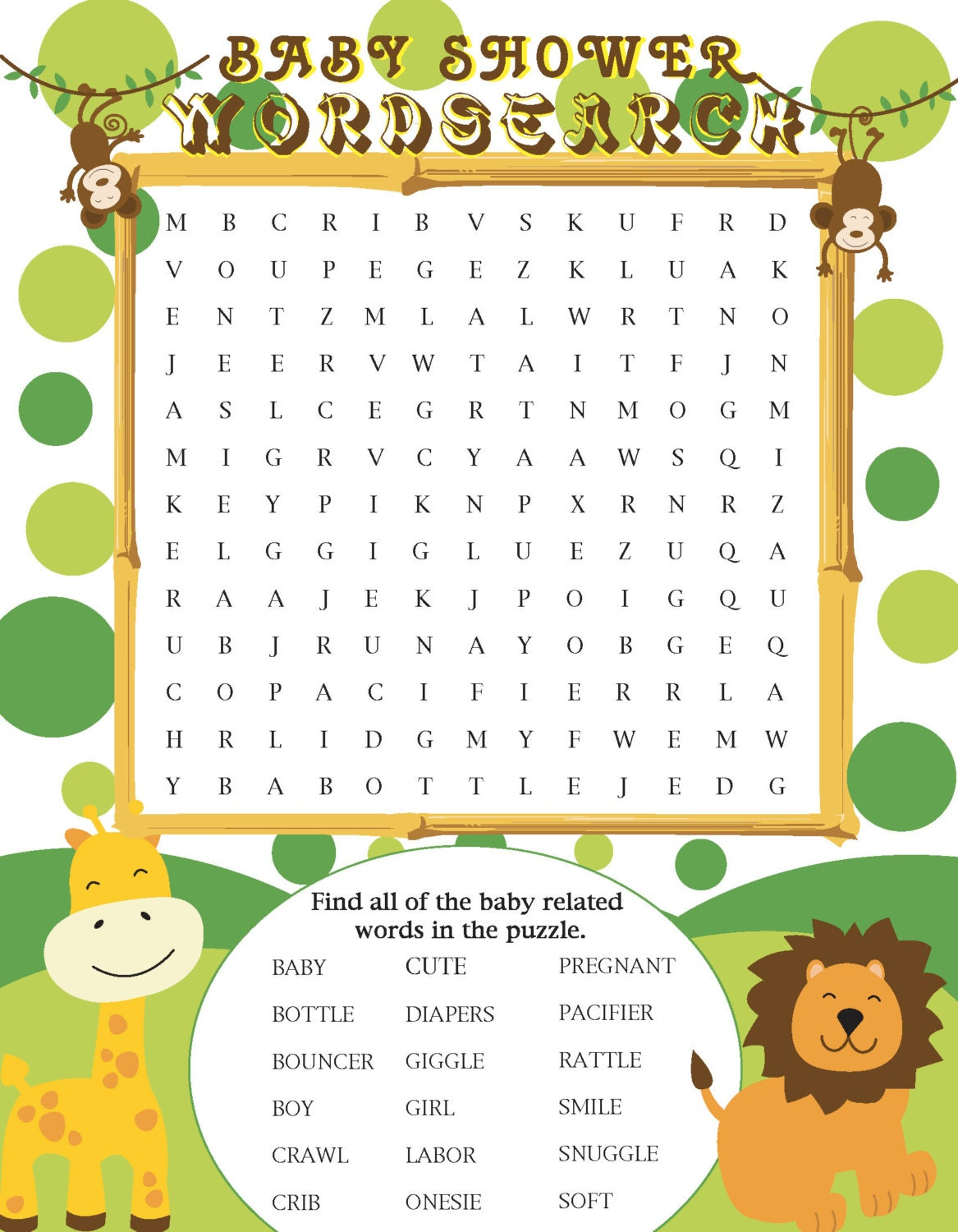 printable jungle themed baby shower word search by jennya309
