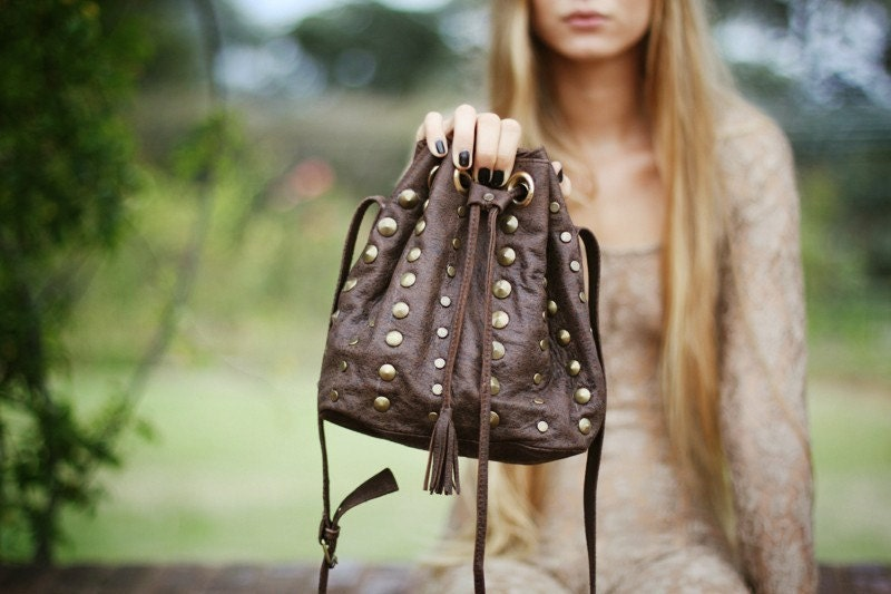 Studded Brown leather pouch cross body bag // Made to order //