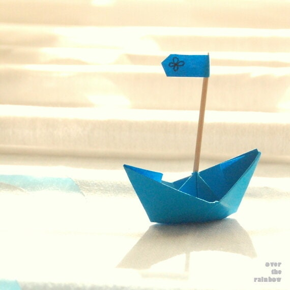 Blue paper boat, origami photograph, blue nursery decor, original wedding gift, set of 2, 5x5 - titled: In Love - OverTheRainbowPrints