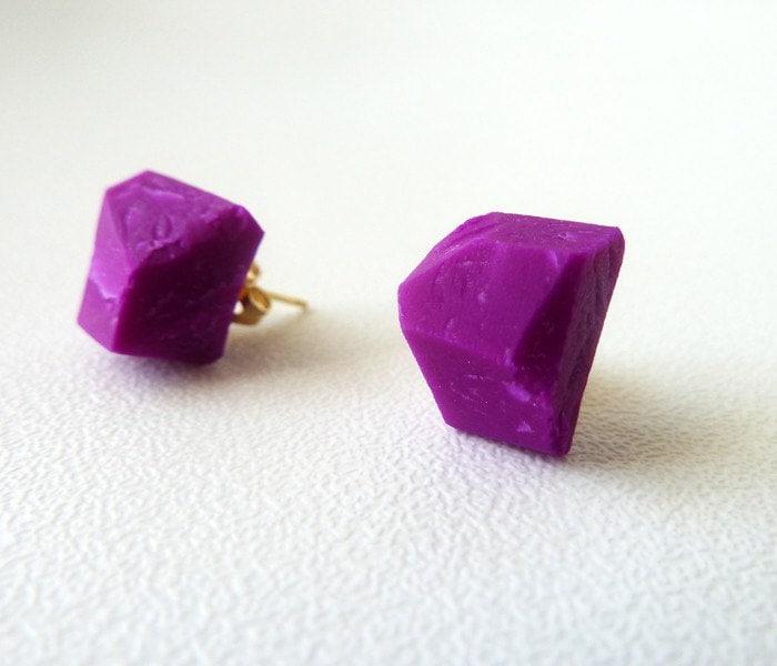 fuchsia geo earrings