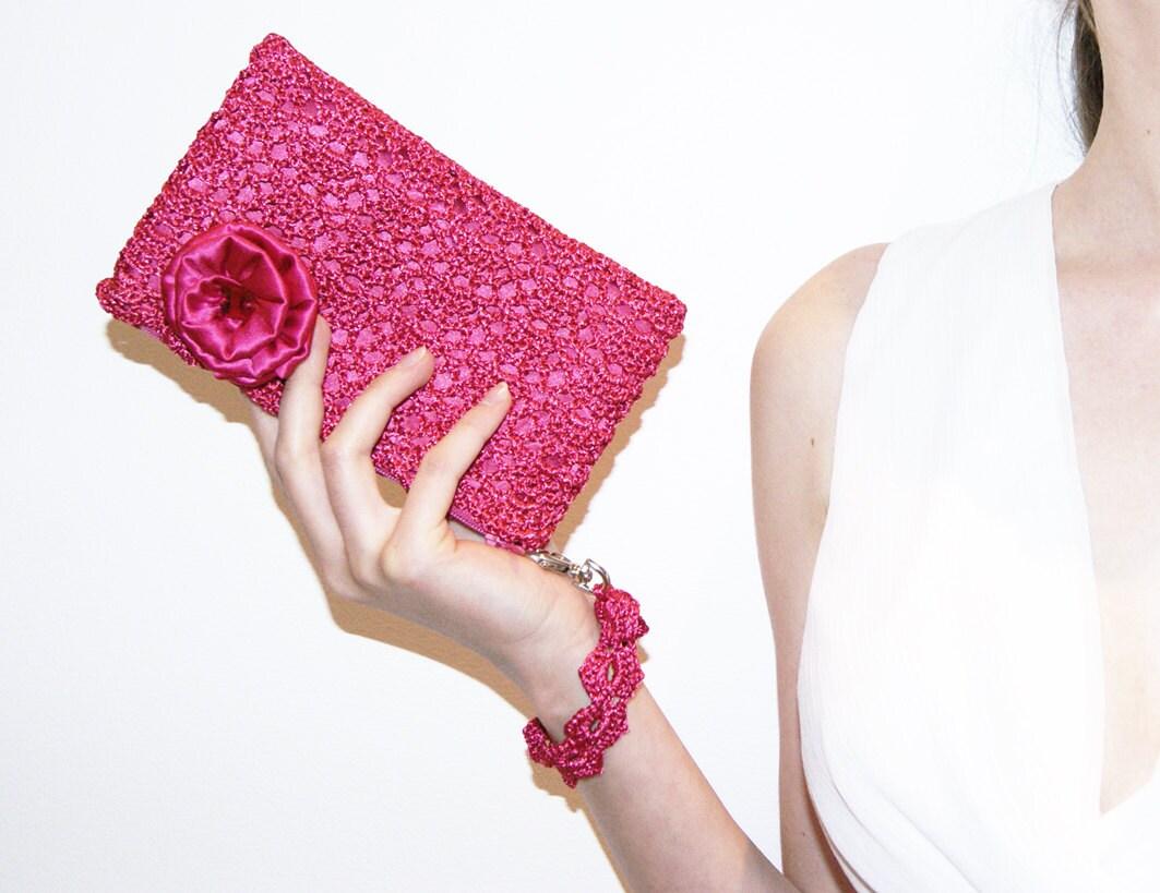 Fuchsia Pink Rossette Crochet Clutch Bag - KeraSoftwear