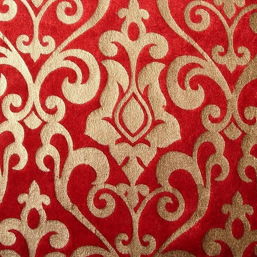 Red Damask Velvet Fabric With Gold Print By FabricMart On Etsy