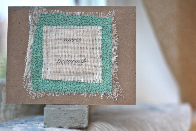 merci beaucoup antique fabric single card