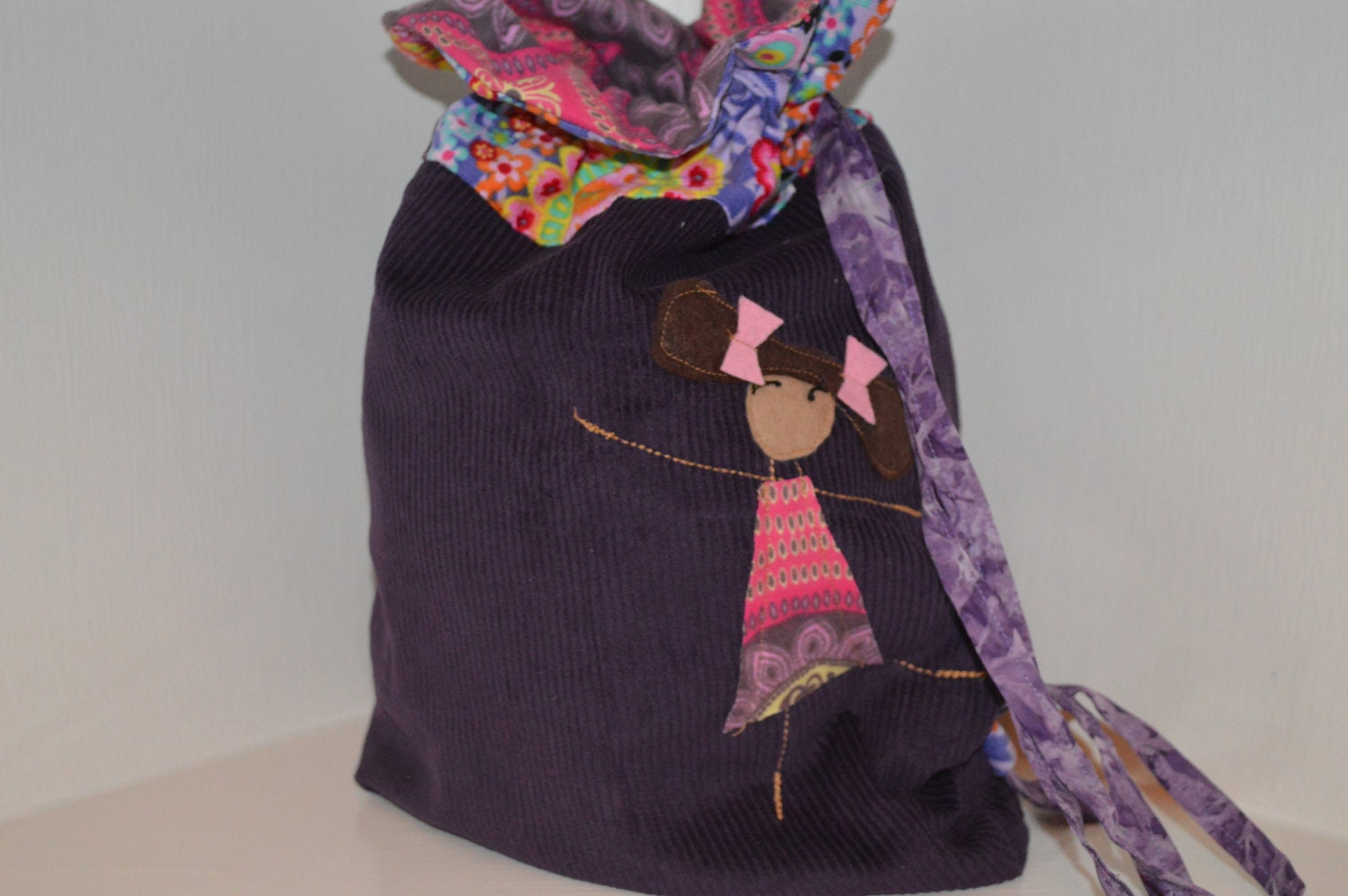 Purple Library Ballet Bag- pink bows