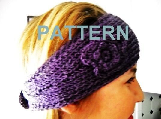 Knitting Pattern Headband With Flower : Items similar to Knitting Pattern Headband With Crochet ...