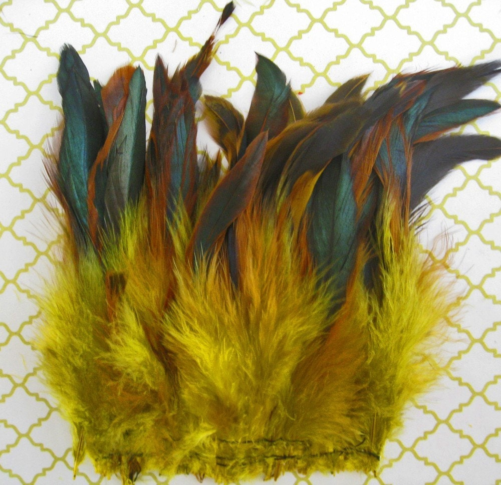 4 Inch Strip - YELLOW Half Bronze Schlappen Rooster Feathers: 382