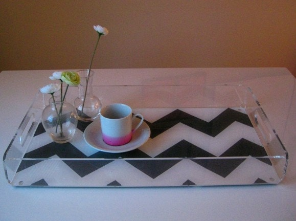 Wide Chevron Stripe Lucite Serving Tray - Charcoal/White