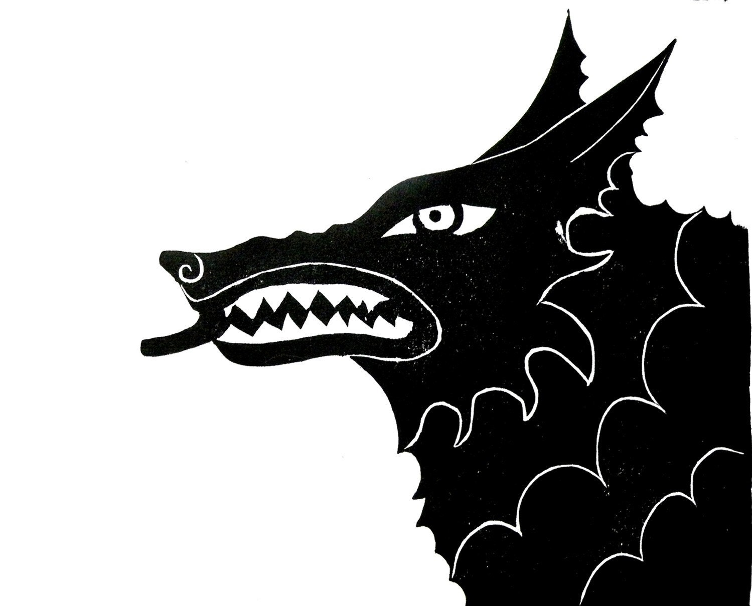 Wolf woodblock print