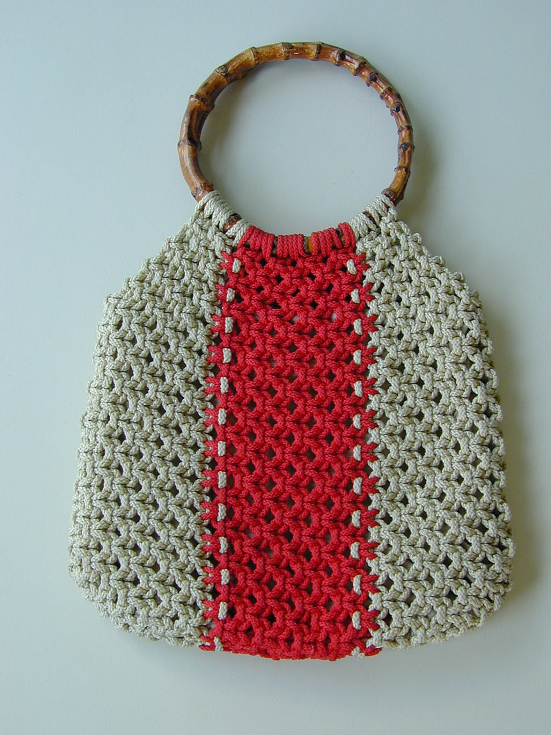 Red Stripe Vintage 70's Macrame Purse with Knotted Twig Handles