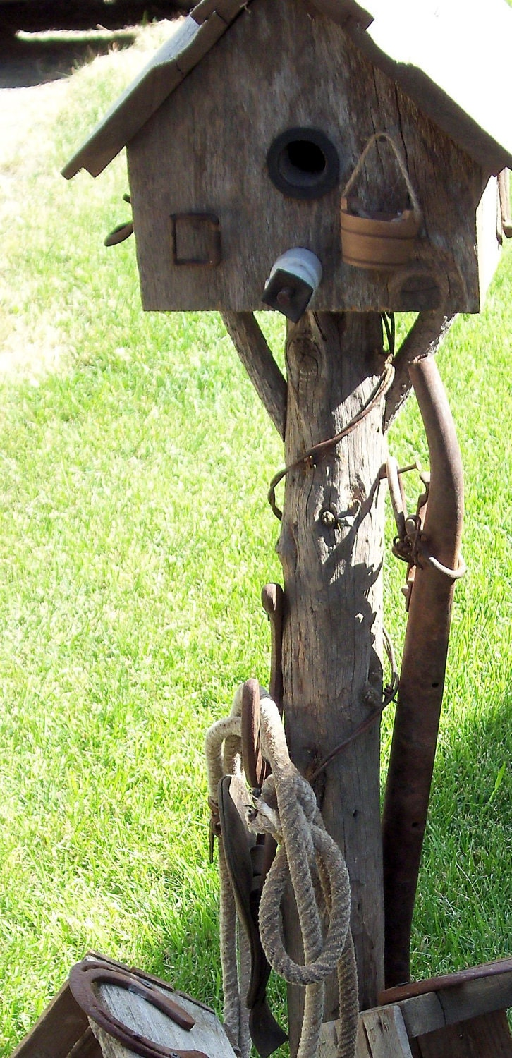 gorgeous antique laden birdhouse  made from 100 plus year old idaho sheep