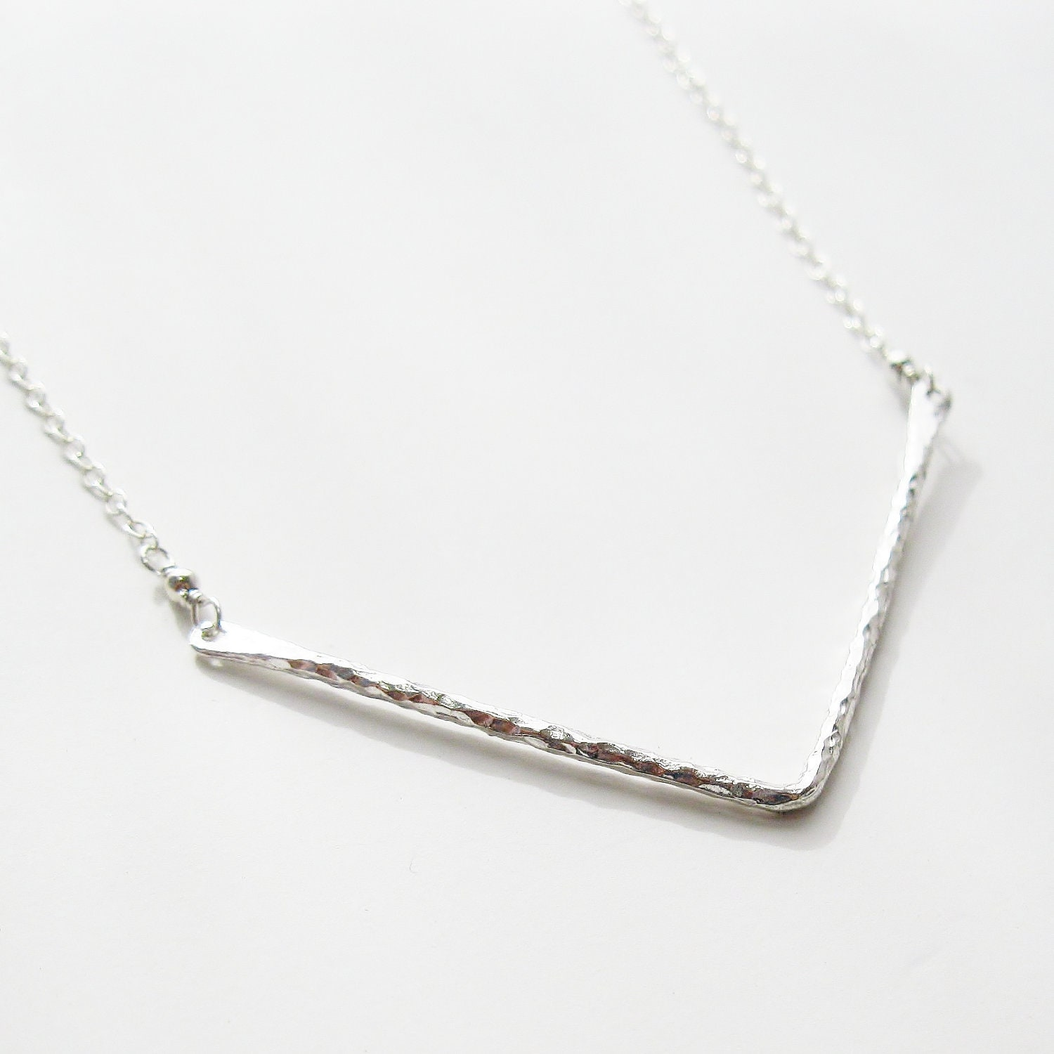 chevron necklace sterling silver pendant necklace by