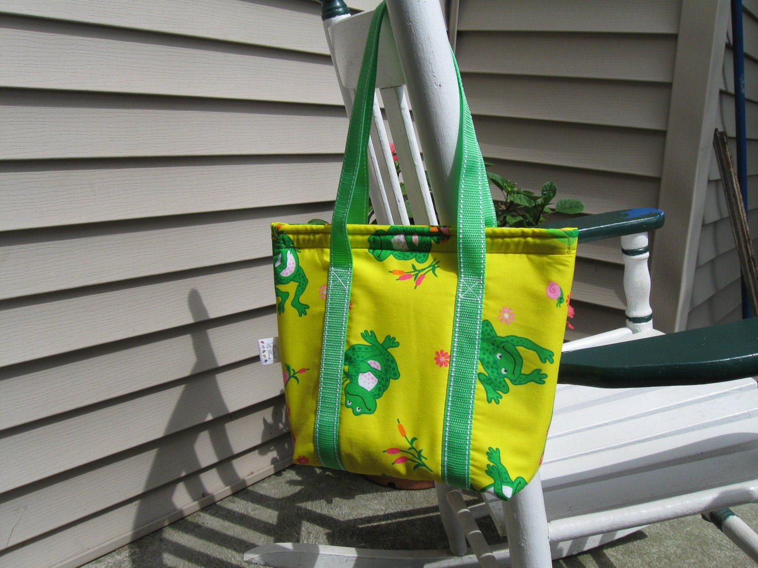 Insulated Lunchbag or Lunchbox Yellow Frog Print