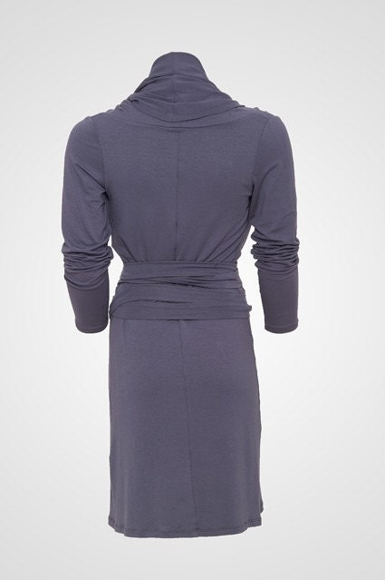 long sleeves big collar dress