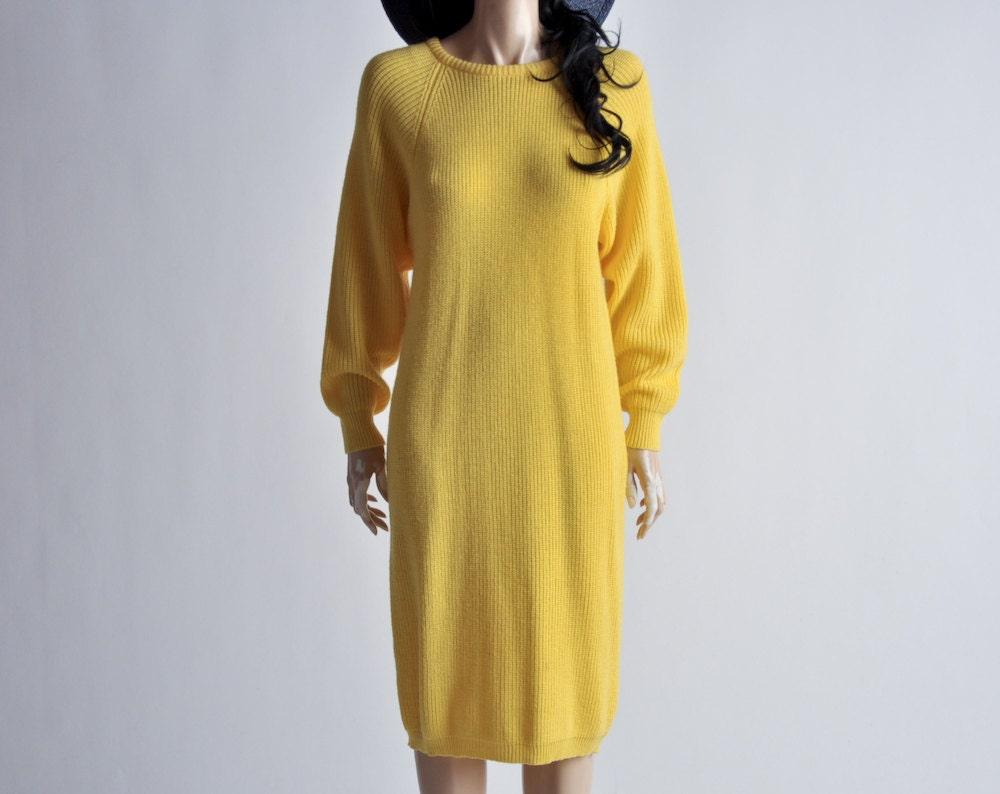 yellow colorblock knit midi sweater dress s by