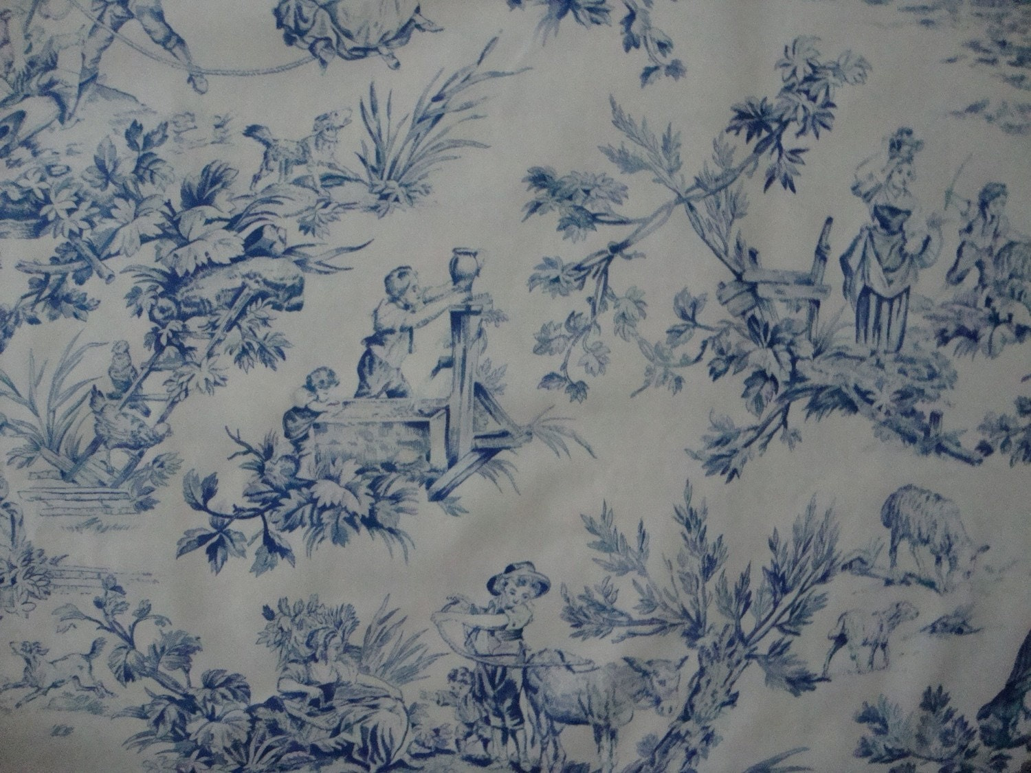 Cotton upholstery fabric french toile design by for French toile fabric