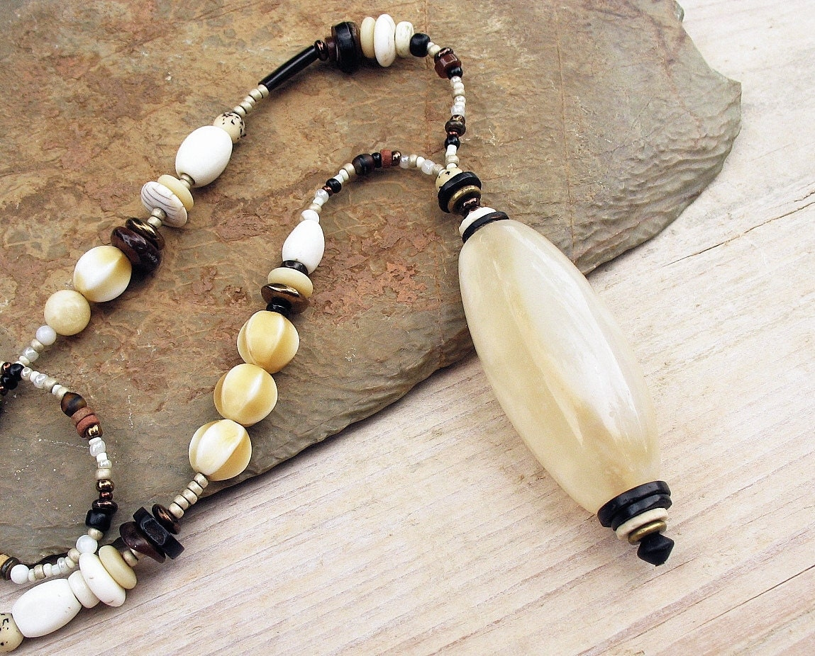 Tribal Pendant Long Necklace Big African White Agate Trade Bead Seed Beads Chain Ethnic Jewelry - BacaCaraJewelry