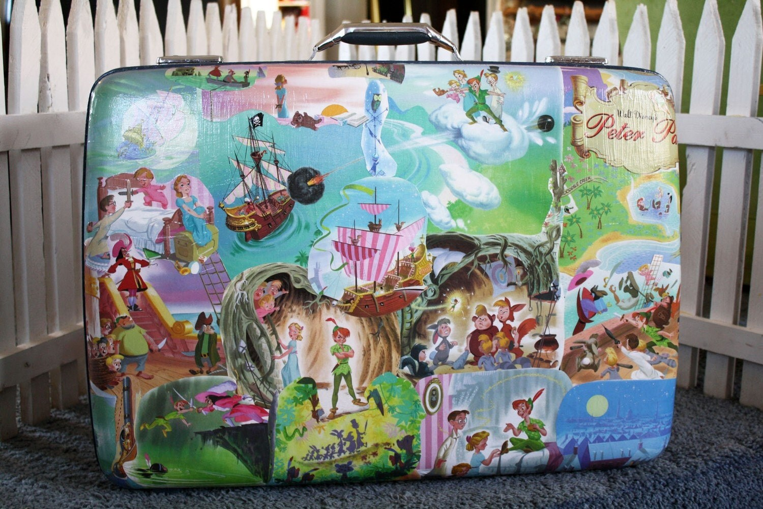 Decoupaged suitcase Peter Pan Tinker Bell Mercy Watson pig FREE shipping