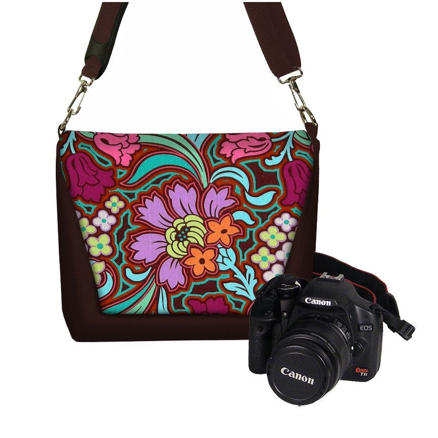 Deluxe DSLR Camera Lens Bag Case zipper pocket more padding - Soul Blossoms Magenta - INSTOCK