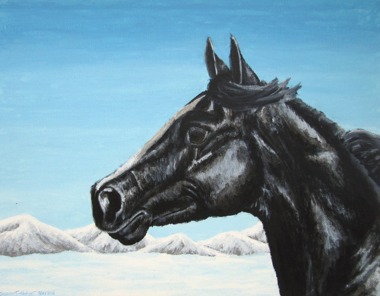 Items similar to winter horse art - Black Arabian Horse In ...